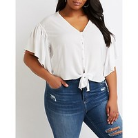 Front-Tie Button-Up Top | Charlotte Russe