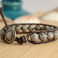 Beaded gemstone single wrap bracelet. Shades of grey bracelet