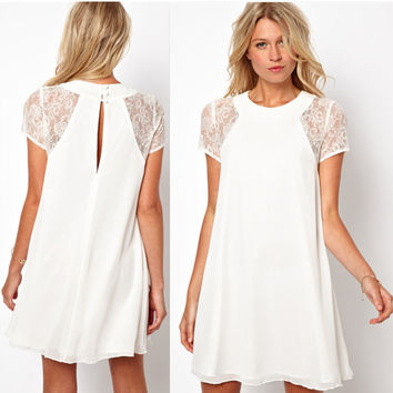 Lace Sleeve Back Button Chiffon Dress
