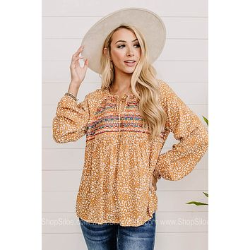 Falling For You Embroidered Balloon Sleeve Top