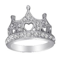 Sterling Silver Crown Design Pave CZ Ring.Size-7 FREE GIFT BOX.: Jewelry