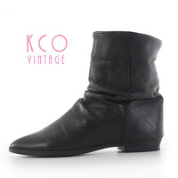 Black Ankle Boots 80's Vintage Leather Booties Women's Size 6 / Black Minimalist Goth Shoes Slouch Boot US 6.5 / UK 4 - 4.5 / EUR 36 - 37