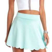 Scalloped High-Waisted Skater Skirt by Charlotte Russe - Mint