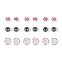 Pink Crystal and Hematite Ball Stud Earrings Set of 9
