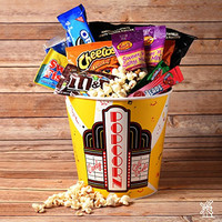 Coco Mill Movie Night Thriller Popcorn, Candy, Chocolate & Snack Variety Gift Bucket- Perfect Gift for Birthdays, Friends, Thank you- Includes, M&M's®, Planters®, Oreos®, and much more!