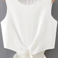 White Zip Up Back Cut-Out Hem Chiffon CropTop