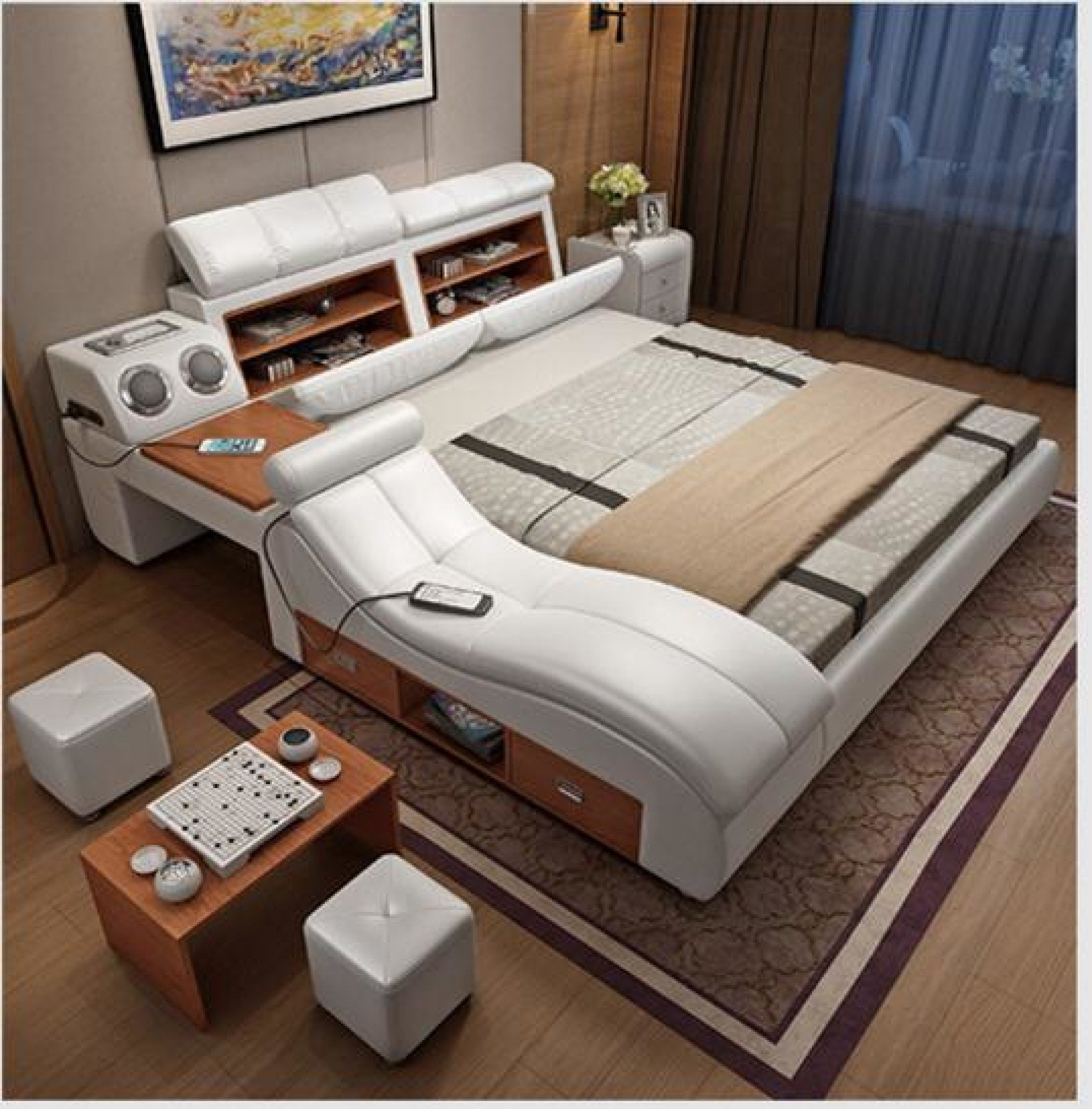 Image of Soft Leather Bed Frame With Massager And Storage