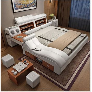 Soft Leather Bed Frame With Massager And Storage