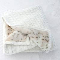 Ivory Cable Knit & Lynx Faux Fur Throw Blanket | Fabulous-Furs