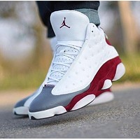 NIKE Air Jordan 13 AJ13 Fashionable Men Women Sport Running Basketball Shoes Sneakers White&Red&Grey