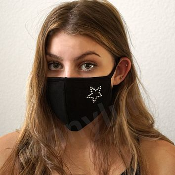 Face Mask Star Crystals Rock Star Lover Cotton Black