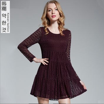 Commemorative Bell Sleeve Dress Casual femininos Crochet Floral Lace embroidery dresses Sheer Boho People Style Women Magenta