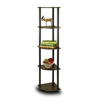 5-Tier Corner Display Shelf Bookcase in Espresso & Black