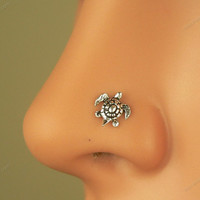 sterling silver tiny turtle nose ring nose stud