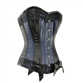 Royal Blue and Black Satin Corset with Bow