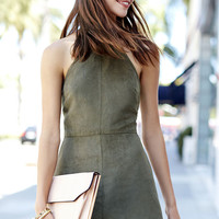 Saloon Swoon Olive Green Halter Dress