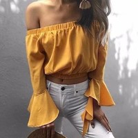 Women Simple Solid Color Long Sleeve  T-shirt Fashion Off Shoulder Pagoda Sleeve Crop Tops