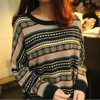 RETRO STRIPED PULLOVER SWEATER from Girl boutique