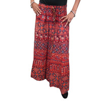 Mogulinterior Indian Long Skirt Maroon Trible Prnted Cotton Summer Casual Maxi Lenght Skirts