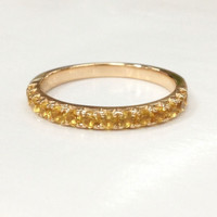 Citrine Wedding Band Half Eternity Anniversary Ring 14K Rose Gold