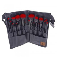 RED OMBRÉ 18 PC Pro Brush Set with Apron – Sable and Synthetic Hair - FACE BRUSHES - FACE MAKEUP - MAKEUP