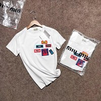 """""""Miu Miu"""" Women All-match Casual Fashion Multicolor Beaded Letter Badge Embroidery Short Sleeve T-shirt Top Tee"""