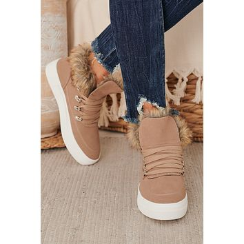 Best Foot Forward Faux Fur Trimmed Sneakers (Taupe)