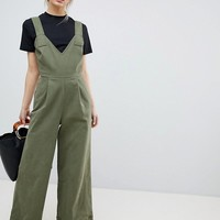 ASOS DESIGN Jumpsuit In Twill With Tie Detail And Wide Leg at asos.com
