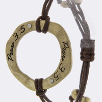 PROVERB 3 5 ETCHED RING ACCENT BRACELET