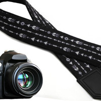 Black camera strap with arrows. DSLR  SLR  Camera Strap. Photo Camera accessories for Nikon, Canon, Sony, Fuji, Panasonic and other cameras.