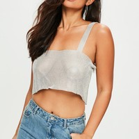 Missguided - Silver Chainmail Top