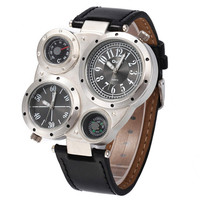 Mens Adventurer Style Leather Strap Watch Boys Outdoor Sports Mountaineering Watch Best Christmas Gift