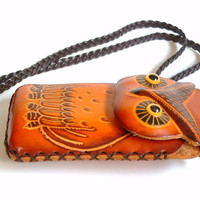 Vintage Leather Owl Pouch Purse Iphone Or Cigarette Case