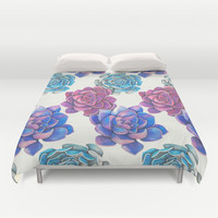 Vibrant Succulents  Duvet Cover by haleyivers
