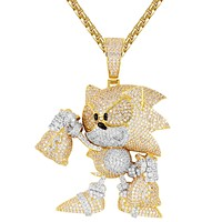Mens Cartoon Character Holding Dollar Money Bag Icy Pendant