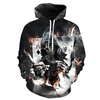 Skull Skulls Halloween Fall  Poker Hoodies Sweatshirts Men Women 3D Pullover Funny Rock Tracksuits Hooded Male Jackets Fashion Casual Outwear Winter Calavera