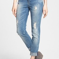 Fire 'Girlfriend' Distressed Tapered Jeans (Dark) (Juniors) (Online Only) | Nordstrom