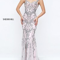 Beaded Sherri Hill Lace Prom Dress