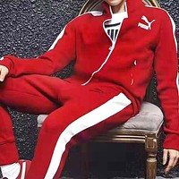 PUMA autumn stand collar cardigan sports two-piece suit red