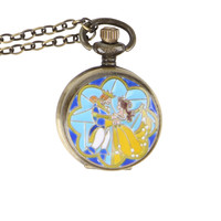 Disney Beauty And The Beast Dancing Pocket Watch Necklace