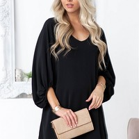 Simple Black Balloon sleeve Dress