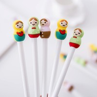 1PCs Cute Cartoon Russian Doll Girl Candy Color Gel Ink Pen Creative Stationery Pen E0248