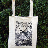 screen print tote bag ~witch riding wolf ~ woodblock print ~ witchcraft ~ occult~ witch ~wolf