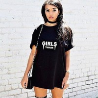 GIRLS TOUR print short sleeve o neck fashion women blouse tee top