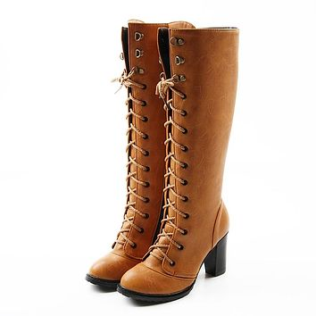 Women high heel over knee boots ladies riding long snow boots