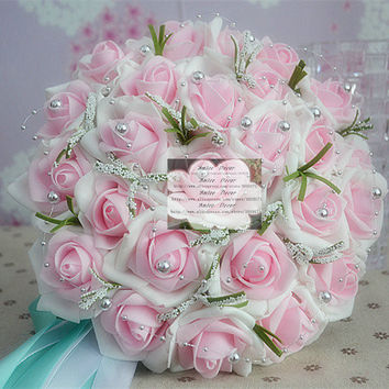 New Romantic Real Touch PU 26cm Wedding Decoration Pearl Artificial Rose Bouquet Pink White F412 Alternative Measures