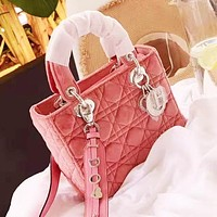 DIOR Fashion Women Shopping Bag Leather Velvet Handbag Shoulder Bag Crossbody Satchel Pink
