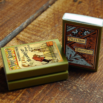 Three (3) Book Covered Matchboxes - Light a Candle - Read a Book - Cozy Home Decor - Classic Novels - Tiny Gift - Light an Imaginative Spark