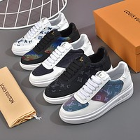 LV Louis Vuitton Fashion trendy rainbow color letter sneakers Shoes