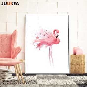 JUUKEA Watercolor Flamingo Posters And Prints Wall Art Canvas Painting Wall Pictures For Living Room Nordic Decoration
